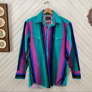 Vintage Colorful Western Button Down Made In USA